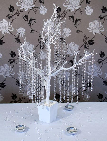 Captivating Table Centerpieces, Crystal Trees, Feather Fantasies